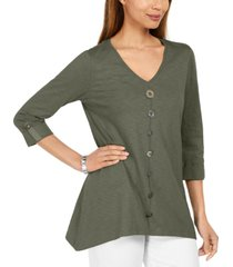 jm collection button-front textured top, created for macy's