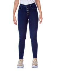 jean skinny botones azul oscuro