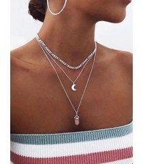 plata rosa cristal y luna colgante collar de varias capas