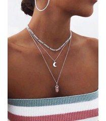 plata rosa cristal y luna colgante collar muti-layer