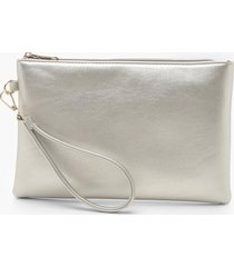 metallic smooth pu zip top clutch bag, silver