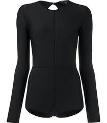 ann demeulemeester long-sleeve fitted bodysuit - black