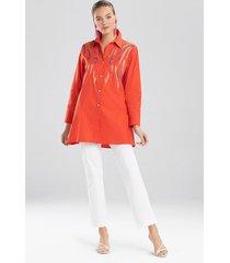 natori cotton poplin embroidered tunic top, women's, orange, size m natori