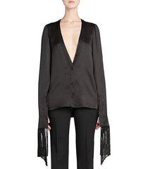 fringed silk-blend blouse