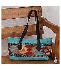 leather accent zapotec wool shoulder bag, 'elegant geometry' (mexico)