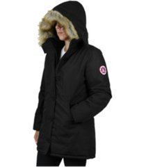 spire by galaxy women's heavyweight long parka with faux fur hood
