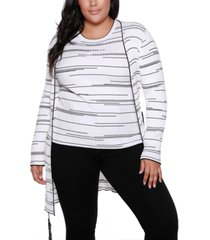 belldini black label plus size long sleeve cardigan with belt
