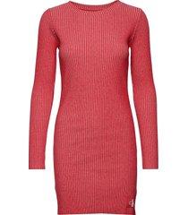 long sleeve rib dress stickad klänning rosa calvin klein jeans