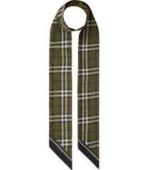 burberry vintage check & camo reversible silk skinny scarf in khaki green at nordstrom
