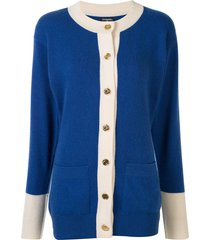 chanel pre-owned cc button front opening long sleeve cardigan - blue