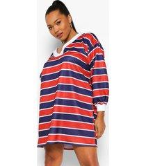 plus gestreepte sweatshirt jurk met v-hals, red