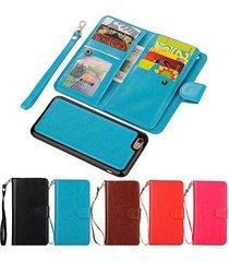 iphone 6 wallet,xyx [blue 9 card slot][detachable wallet folio][2in1 design] lea