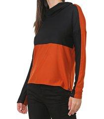 blusa lunender color block laranja - laranja - feminino - viscose - dafiti