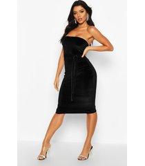 fluwelen strapless midi jurk met ceintuur, zwart