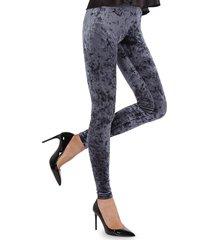 memoi women's crushed velvet leggings - navy - size l (10-12)/xl (14-16)