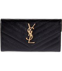 women's saint laurent monogramme logo leather flap wallet - black