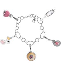 carolyn pollack pink rhodonite and yellow mother of pearl 5 charm link bracelet in sterling silver