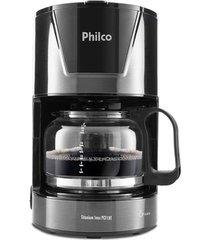 cafeteira elétrica com porta filtro philco titanium inox preta 18 xícaras - 220v