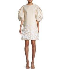carolina herrera women's puff-sleeve embroidered shift dress - ecru - size 2