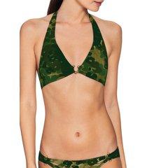 women's robin piccone eden halter camo bikini top, size large - green