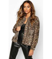 leopard print denim shirt, brown
