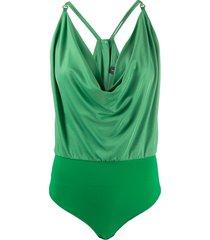 elisabetta franchi ruched style sleeveless bodysuit - green