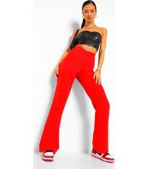getailleerde broek met v-taille en plooien, red