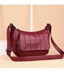donna soft tracolla per il tempo libero in pelle borsa messenger portatile solido borsa