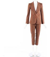 chloe brown houndstooth wool blend blazer slim pants suit brown sz: xs