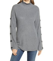 women's caslon button detail mock neck sweater, size x-small - grey