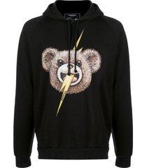 domrebel teddy bear boltface print hoodie - black