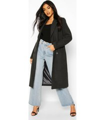 double breasted maxi wool look coat, charcoal