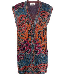 missoni pre-owned 1980s abstract print sleeveless cardigan - orange