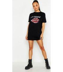 la femme t-shirtjurk met lippen, zwart