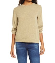 women's bobeau drop shoulder sweatshirt, size large - green