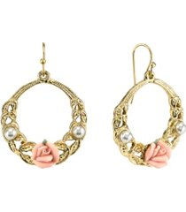 """2028 gold-tone pink porcelain rose with simulated pearl front face 1 1/2"""" medium hoop earrings"""