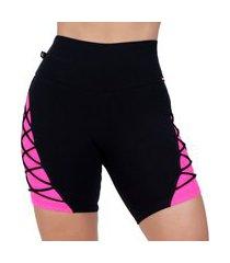 bermuda fitness feminina poliamida alta compressão meia coxa detalhe neon orbis.