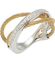 18k white gold & goldtone diamond twist ring
