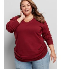 lane bryant women's v-neck ruched side sweater 14/16 pomegranate