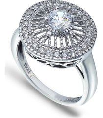 cubic zirconia medallion ring with round prong center stone in fine silver plate