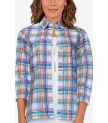 alfred dunner women's missy bryce canyon plaid shirt