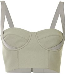 dion lee belted strap bustier top - green
