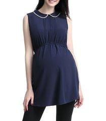 women's kimi and kai 'callie' crystal embellished peter pan collar sleeveless maternity blouse, size large - blue