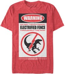 jurassic world men's warning do not touch fence short sleeve t-shirt