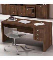 mesa para escritório 3 gavetas  nogal me4113 - tecno mobili