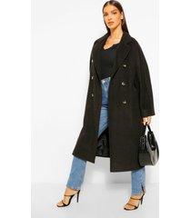 getextuurde nepwollen keperstof jas met dubbele knopen, black