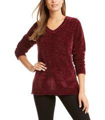 karen scott petite chenille v-neck sweater, created for macy's