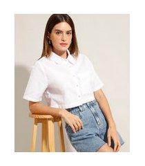camisa cropped de algodão com bolso manga curta mindset branca