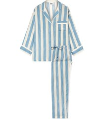 marina striped cotton-blend pajama set