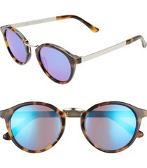 madewell indio 48mm round sunglasses in demi tortoise/flash blue at nordstrom